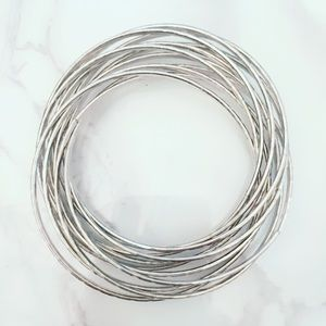 Jewelry - Silver Tone Twisted Bangle Bracelets